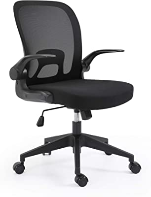 Ergonomic Design Foldable Backrest and Armrest Safety Comfortable Office Chair for Home and Study (Black)