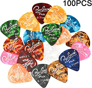 Guitar Picks Medium,100 Pack Colorful Celluloid Guitar Picks & Unique Guitar Gift for Acoustic Guitar, Bass and Electric Guitar (0.71mm)