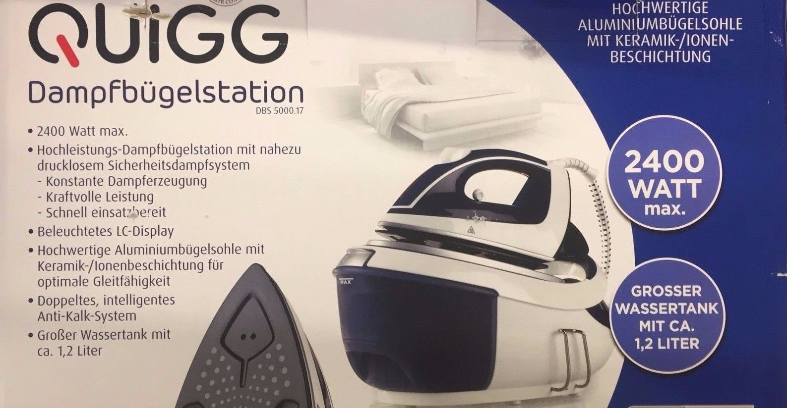 Quigg plancha al vapor revestimiento de cerámica 2400 W: Amazon.es: Grandes electrodomésticos