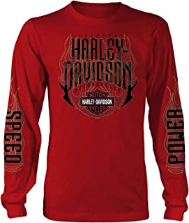Harley-Davidson Military - Men's Long-Sleeve Red Graphic T-Shirt - Aviano Air Base | Hot Ride