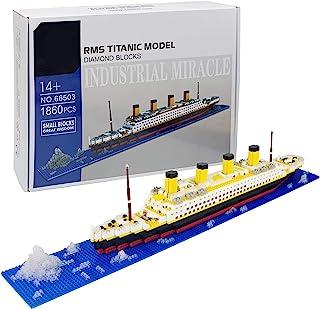 Titanic Ship Model Building Block Set, 1860pcs DIY Mini Titanic Model Micro Blocks Toys,Educational Toy, Gift for Adults a...