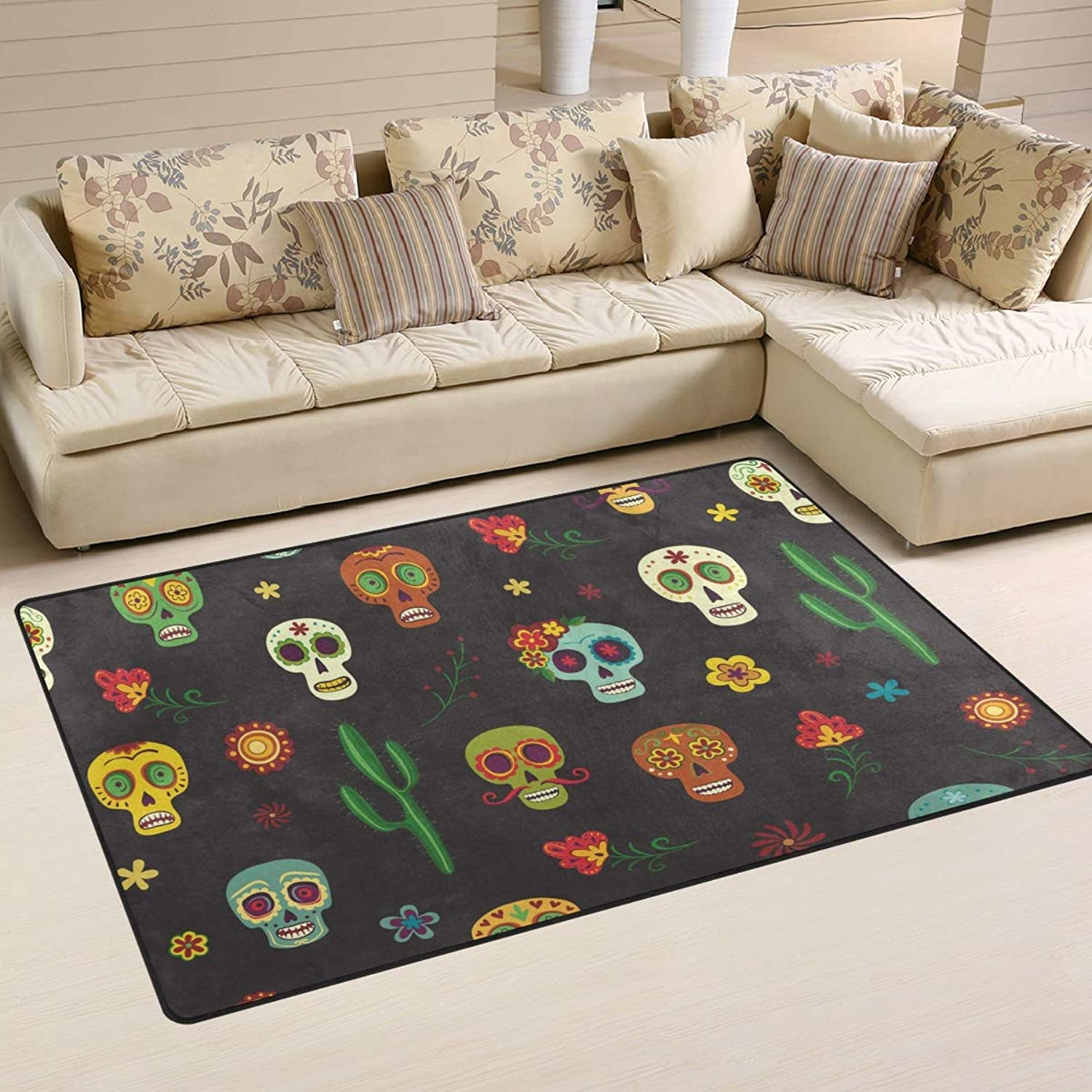 Area Rugs Doormats colorful Skull Cactus Flowers 5'x3'3 (60x39 Inches) Non-Slip Floor Mat Soft Carpet for Living Dining Bedroom Home