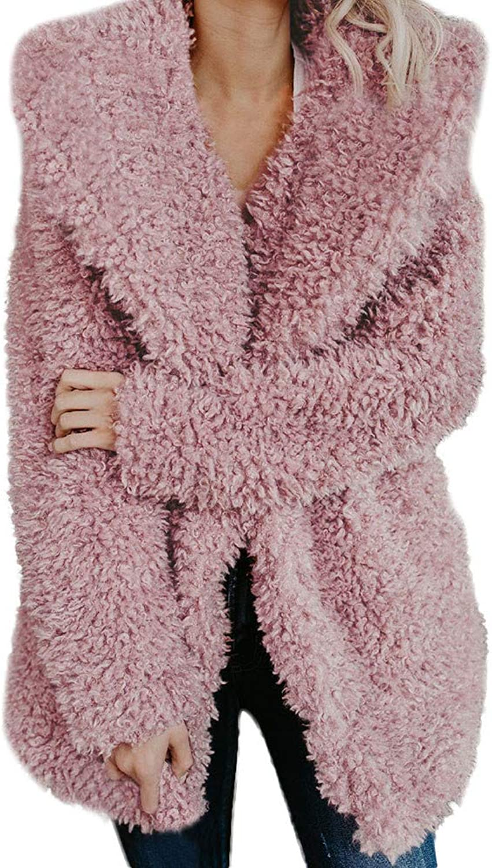 7ce17ec7fc8d Faux Wool Hoodie Coat BCDshop Ladies Warm Jacket Lapel Winter ...