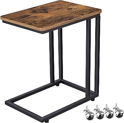 VASAGLE サイドテーブル ソファ ナイトテーブル 広い天板 キャスター付き 幅50x奥行35x高さ60cm 耐荷重20kg 質感良い ヴィンテージ LNT50ZV1