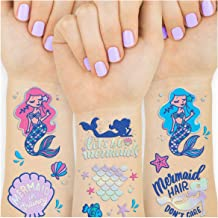 xo, Fetti Mermaid Party Supplies Temporary Tattoos for Kids - 24 Glitter Styles   Mermaid Birthday Party Favors, Mermaid Tail Decorations + Halloween Costume