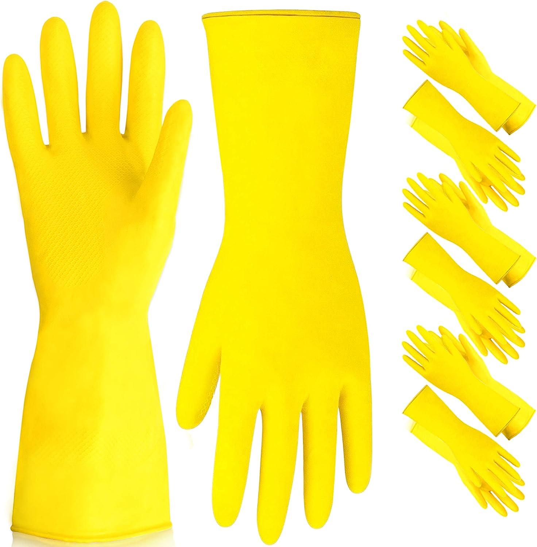 Dishwashing Gloves - Rubber Gloves, Yellow Flock Lined Heavy Dut