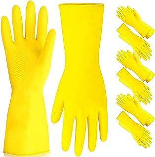قفازات غسيل الأطباق - قفازات مطاطية صفراء مبطنة بالقطان الشديد التحمل