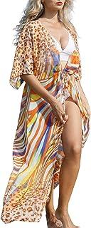 L-Peach Cardigan Kimono Vestido Largo de Playa Pareo Cover Up para Mujer