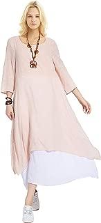 Anysize Spring Summer Fake Two Piece Linen Cotton Dress Plus Size Dress Y82