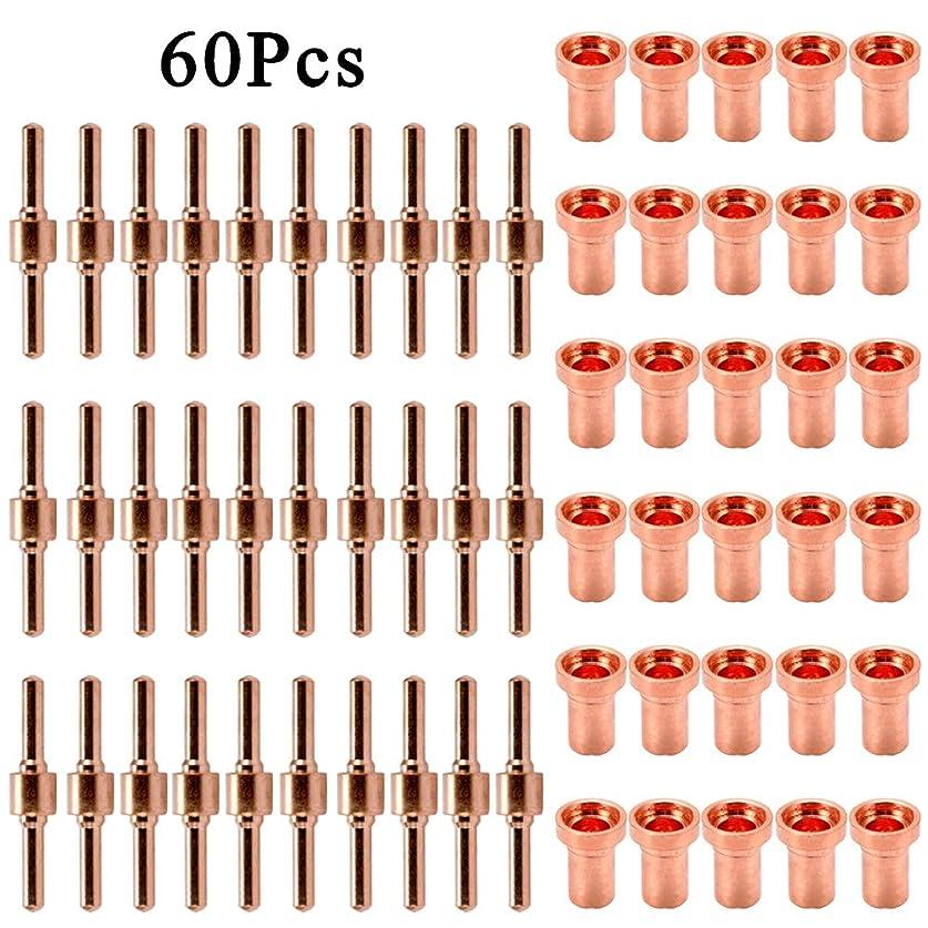 ブルーベルパキスタン生産的KKmoon ロング プラズマ カッター チップ 電極ノズルキット 60個 レッド銅拡張 PT31 L-G40 40A切断機 消耗品用