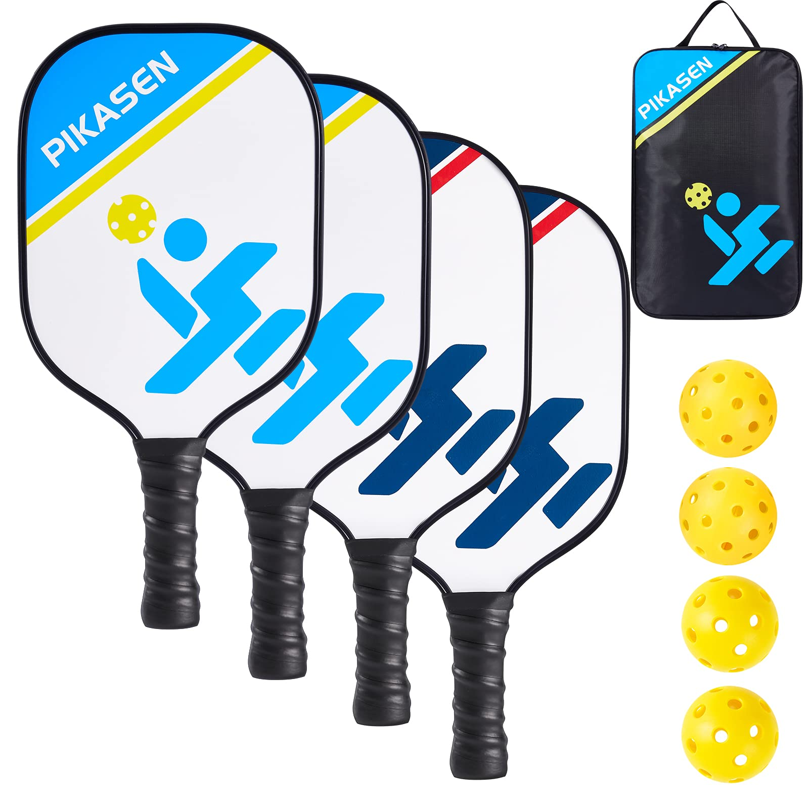 PIKASEN Wooden Pickleball Paddles Set of 4?Includes 4 Wood P