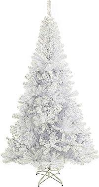 SunJas Arbre de Noël, Sapin Artificiel avec Support, Matière PVC, Base à Croix en Fer, 210 cm, Blanc