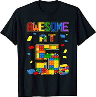 Birthday Shirt For Kids 5 Building Blocks Bricks Theme Party T-Shirt