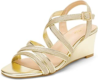 DREAM PAIRS Women's Elastic Ankle Strap Low Wedge Sandals