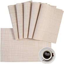 Placemats PVC Table Mats Beige Placemat Set of 8 Easy to Clean Non Slip Wipeable Heat Resistant Waterproof Farmhouse Moder...