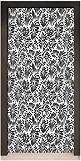 Black and White Door Wallpaper Simple Floral Motifs Tropical Island Vegetation in Monochrome Doodle Style for Home Decoration Black White,W38.5xH77
