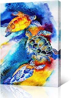 VVOVV Wall Decor - Watercolor Painting Of Sea Turtles Swimming Wall Art For Bedroom Contemporary Home Decor Canvas Print Animal Poster Pictures Large Gallery Wrapped Ready to Hang 24x36""