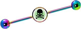 Body Candy Rainbow Anodized Steel Skull Industrial Barbell Piercing 14 Gauge 37mm