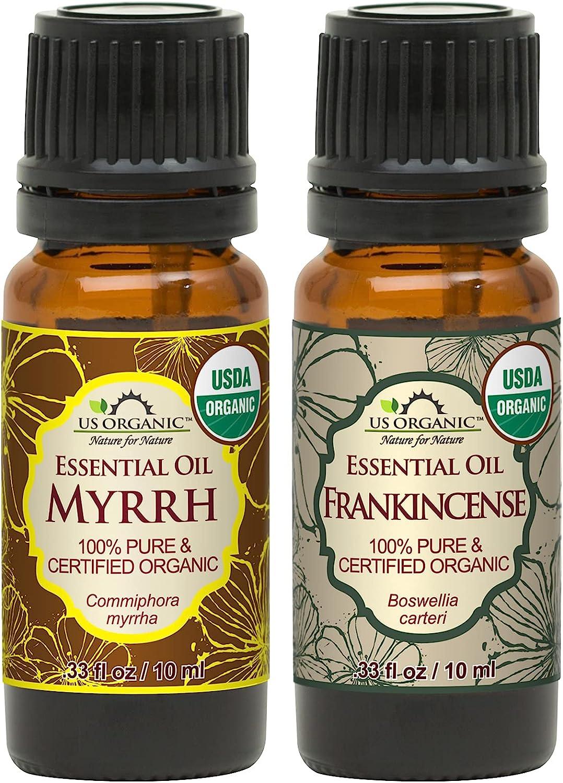 US Organic 100% Pure Myrrh, Frankincense Essential Oil Combo Pac