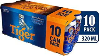 Tiger Lager Beer Can, 320ml (Pack of 10)