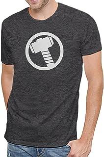 تي شيرت رجالي من Marvel Comics عليه شعار Avengers Thor الناعم بلون الفحم المرقط