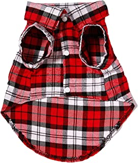 DAYONG Dog Shirt - Breathable Dog Plaid T-Shirt, Soft Basic Pet Vest Tee Clothes for Small Medium Large Dogs Cats Puppy (L)