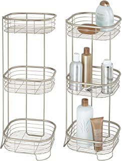 mDesign étagère salle de bain en métal (en lot de 2) – colonne salle de bain avec trois niveaux pour serviettes, shampoing...