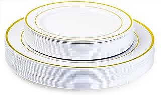Laura Stein Designer Dinnerware Set of 80 Premium Plastic Wedding/Party Plates: White, Gold Rim. Set Includes 40 10.75