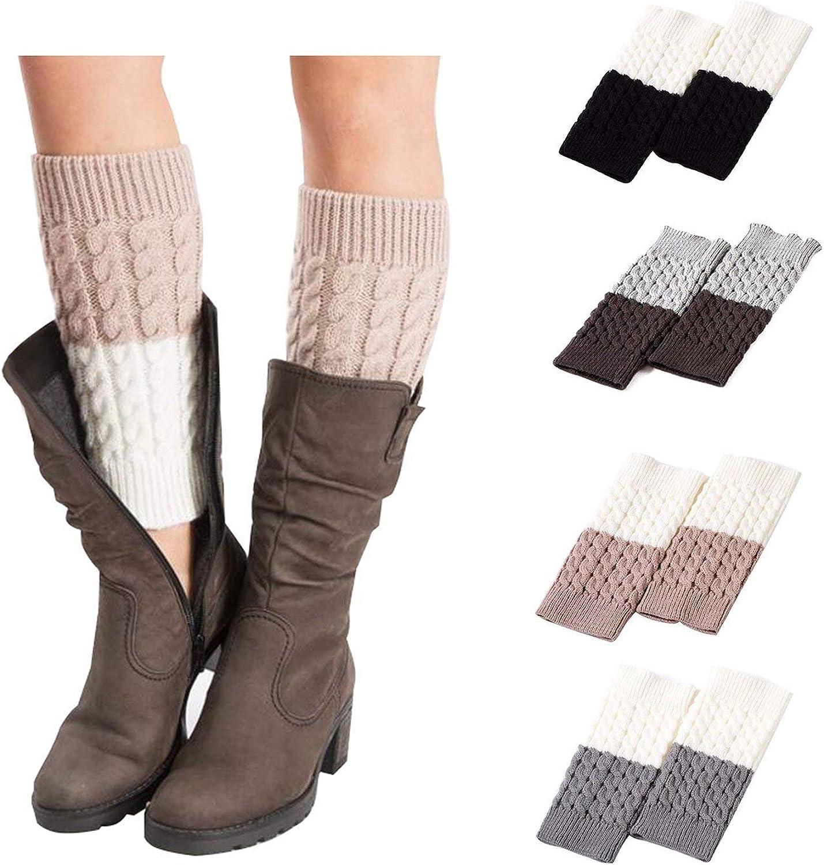 Kaariss Short Women Crochet Boot Cuffs Winter Cable Knit Leg Warmers