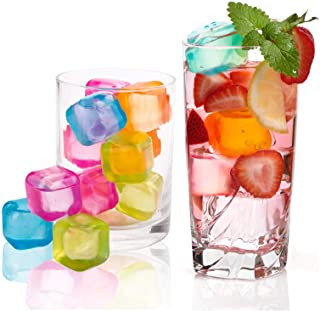 """Yopay 200 Pieces Reusable Ice Cubes, 0.1"""" Plastic Squares for Drinks, Whiskey, Wine or Beer, Keep Your Drink Cold Longer, ..."""