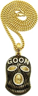 Goon Ski Mask Man Pendant 24 inches Various Chain Necklace in Gold Tone (Gold / 3mm 24