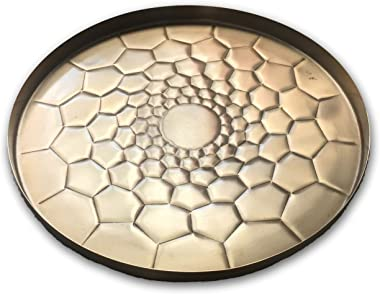 Allegorie Gold Hexagon Round Tray - Large Metal Decorative Serving Platter for Coffee Table, Breakfast, Bar or Cocktails and
