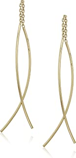 Sterling Silver Double Curved Threader Drop Earrings