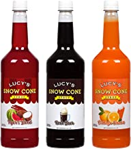 Lucy's Family Owned Shaved Ice Snow Cone Syrups - Tigers Blood, Root Beer, Orange Cream - 32oz Syrup Bottles (Pack of 3) (Carnival Pack)
