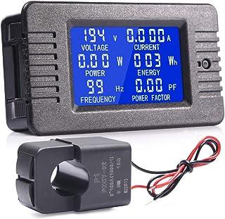 MICTUNING Pantalla LCD Multímetro Digital de CA Voltímetro del Amperímetro con Transformador de Corriente de 100 A para Electrodomésticos.