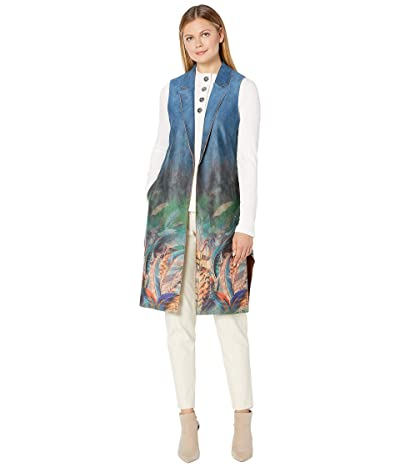FDJ French Dressing Jeans Faux Suede Printed Long Vest (Feather) Women