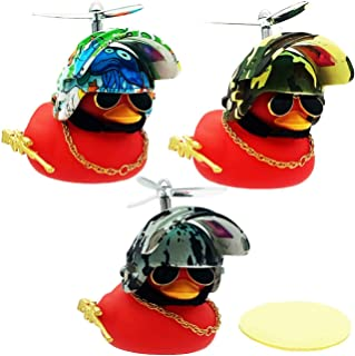Rubber Duck Toy Broken Wind Duck Car Dashboard Accessory Set with Propeller Helmet Sunglasses Gold Chain Toy Gun