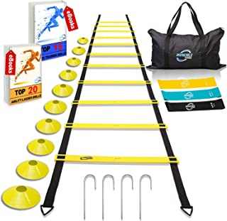 Invincible Fitness Agility Ladder Training Equipment Set, Improves Coordination, Speed, Explosive Power and Strength, Includes 10 Cones, 4 Hooks and 3 Loop Resistance Bands for Outdoor Workout