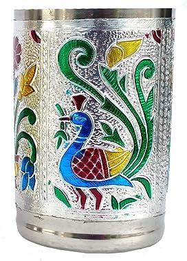 Jesilo Arts Stainless Steel Handmade Meenakari Peacock Design Decorative Glass Set for Home   Set of 6 Glass (Silver)
