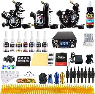 Solong complete tattoo kit for beginner 3 Pro Tattoo Machine Gun Kit 8 Inks Power Supply Foot Pedal Needles Grips Tips TK356