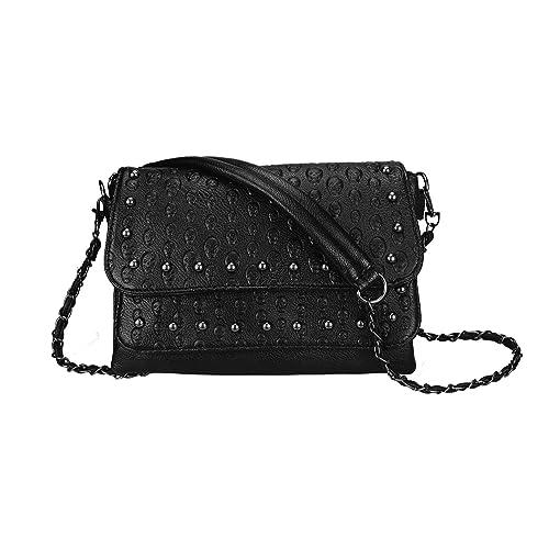4b5d10aeba82 Women Classic Functional Multi Layers Shoulder bag Black Crossbody Bag  Multi Pockets Skull Rivet Purse-