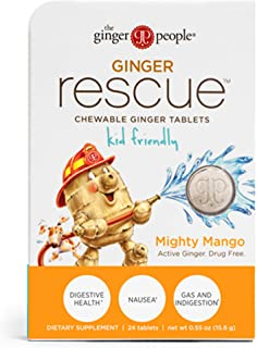 Ginger Rescue - Chewable Ginger Tablets by The Ginger People for Motion Sickness & Nausea, Mighty Mango, 24 tabs