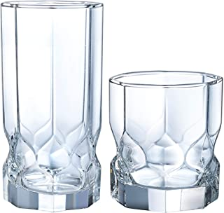 Luminarc N7408 Topaz 16 Piece Tumbler Set, 8-16 Ounce Coolers & 8-10 Ounce On The Rocks Glass, Clear