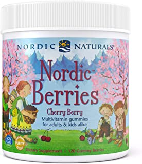Nordic Naturals Nordic Berries, Cherry Berry - 120 Gummy Berries - Great-Tasting Multivitamin for Ages 2+ - Growth, Develo...