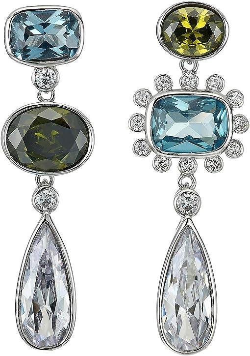 Rhodium/Aqua CZ/Peridot Crystal