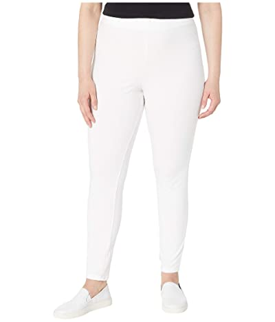HUE Plus Size Wide Waistband Blackout Cotton Leggings (White) Women