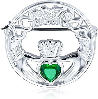 Celtic Claddagh Sciarpa Round Circle Spilla Pin Per Donne Rosso Verde Simulato Smeraldo Ruby Vetro Cuore 925 Sterling Argento