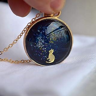 Gato Bajo las estrellas Cielo estrellado Linda Coño Animal Vaso Flotante Locket 18K Chapado en Oro Largo Collar
