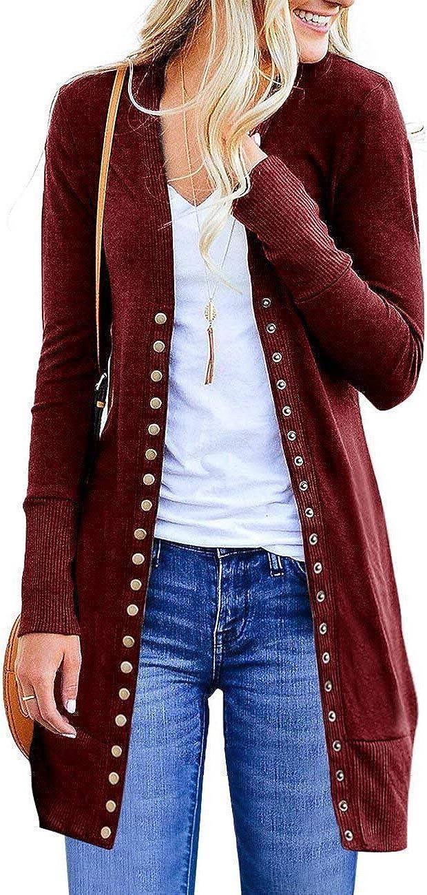 AEL Women's Button Down Knitwear Long Sleeve Soft Basic Knit Snap Cardigan Sweater Outwear(Wine Red,S)
