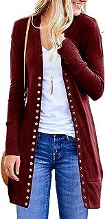 Casual Knitted Cardigans for Women Button Down Knitwear Long Sleeve Outwear Open Front Sweater Coat